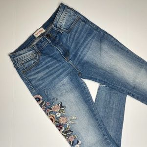 Driftwood Jackie Floral Embroidered Jeans Size 26